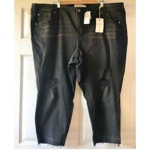 Torrid distressed boyfriend cropped jeans